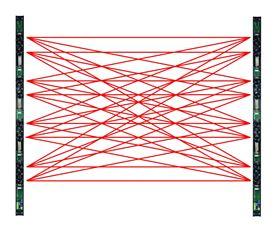 Immagine di 2 barriere con 2 doppie lenti 2TX + 2RX (8 raggi incrociati) , H. 1m, port. 100m